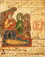 Antifonario de León. La miniatura  representa al abad Totmundo entregando el códice a Ikila.