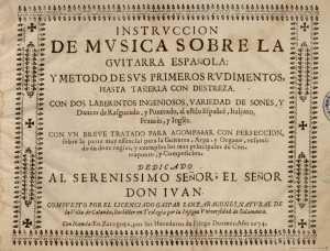 Portada de la Instrucción de música sobre guitarra española, de Gaspar Sanz (1640-1710?)