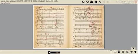Captura de pantalla de una búsqueda en el archivo digital de la Filarmónica de NY. Se trata de un fragmento de Córdoba, de Albéniz, con notaciones en rojo del director Andre Kostelanetz