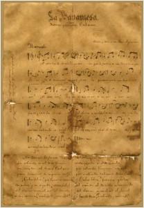 Partitura del Himno Nacional de Cuba.