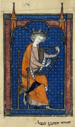 David playing the harp
