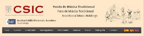 Cabecera web Fondo Música Tradicional IMF-CSIC