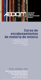 AEDOM Curso Encabezamientos materia música AEDOM