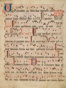 Franciscan antiphoner, fol. 1r. (MS.1996.097, John J. Burns Library, Boston College).