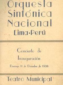 Primer programa de mano de la Orquesta Sinfónica Nacional de Perú, en 1938